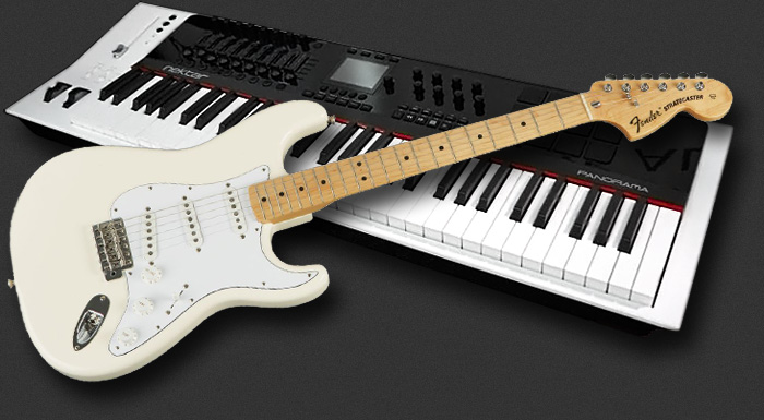 wendy dunham's stratocaster and panorama p6 keyboard